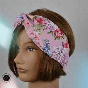 Bandeau Headband fleuri rose
