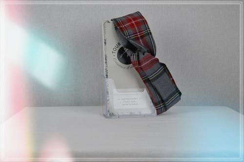 Bandeau HeadBan lainage polyester viscose imprimé tartan gris