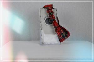 Bandeau HeadBan lainage polyester viscose imprimé tartan rouge