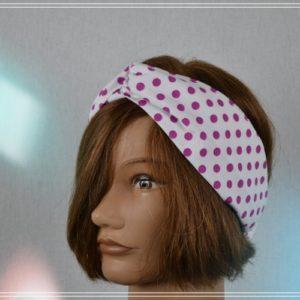 Bandeau Headband Coton fond blanc Pois fushia Vintage