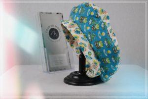Bérêt enfant coton imprimés jaune orangé et turquoise