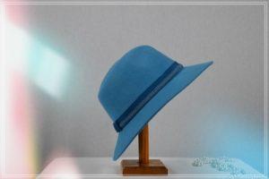 Chapeau Borsalino mérion turquoise gros grain et galon ton sur ton