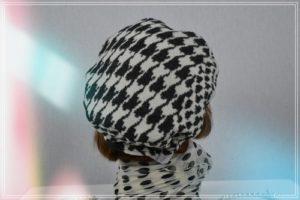 Casquette pied de coq ecru noir doublée polaire polyester noire