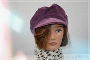 Casquette velours de coton prune