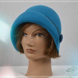 Chapeau cloche mérinos bleu canard ruban dentelle ton sur ton