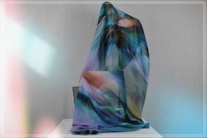 Foulard en mousseline de polyester imprimé fondu d'iris