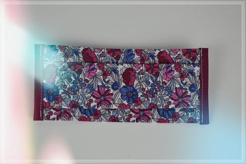 Masque tissu coton grand liberty prune