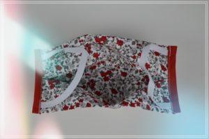 Masque tissu coton liberty rouge