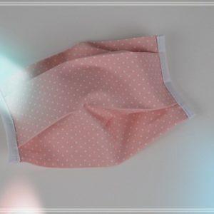Masque tissu coton pois blancs sur fond rosé