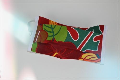 Masque tissu coton tahiti fon rouge