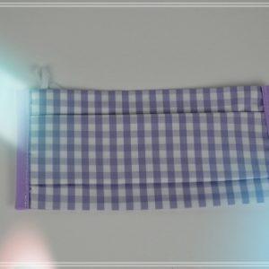 Masque tissu poline de coton imprimé vivhy parme et blanc