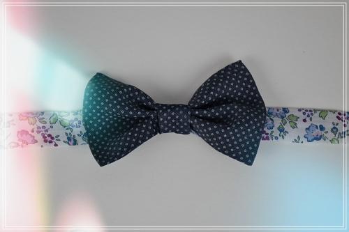 Noeud papillon denim ilprimé ruban liberty rose bleu