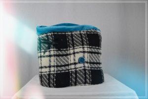 Snood lainage tartan écru noir doublé fausse fourrure turquoise