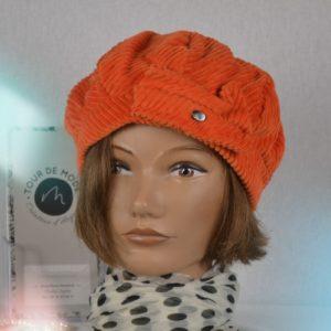 Chapeau velours orange nacre