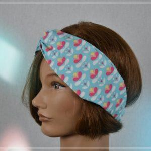 Bandeau Headband Coton imprimé rose jaune fond turquoise