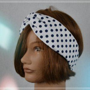 Bandeau HeadBand Coton Fond Blanc pois marine Vintage