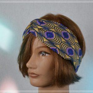 Bandeau Headband Wax Coton Violet moutarde