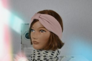 Bandeau Headband maille polyester rose poudre