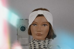 Bandeau Headband en maille de polyester blanc