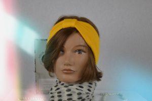 Bandeau Headband en maille de polyester jaune bouton d or