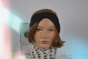 Bandeau Headband en maille de polyester Noir