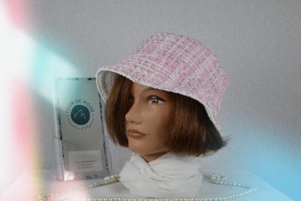 Bob tweed polyester rose et blanc lurex